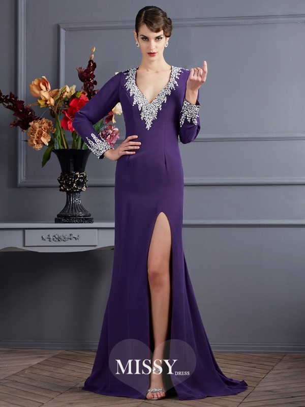 Sheath/Column Long Sleeves V-neck Chiffon Beading Sweep/Brush Train Dresses