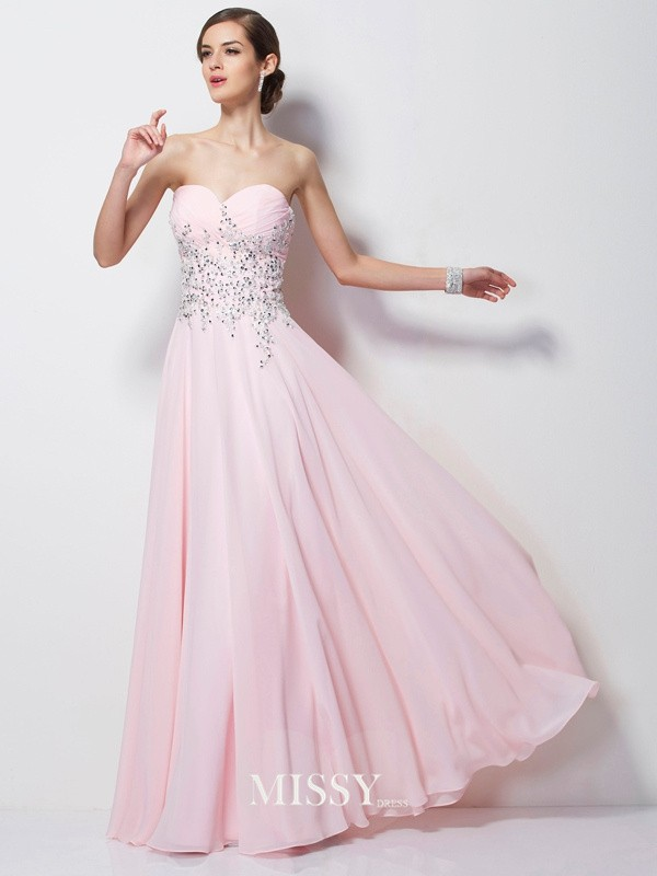 A-line/Princess Sweetheart Beading Chiffon Floor-length Dresses