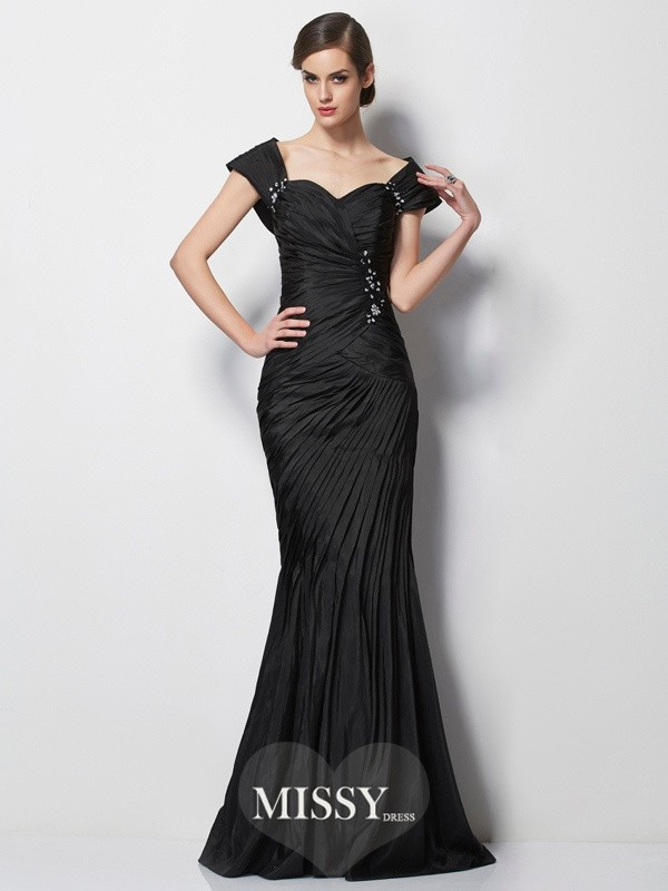 Trumpet/Mermaid Sweetheart Short Sleeves Beading Sweep/Brush Train Taffeta Dress