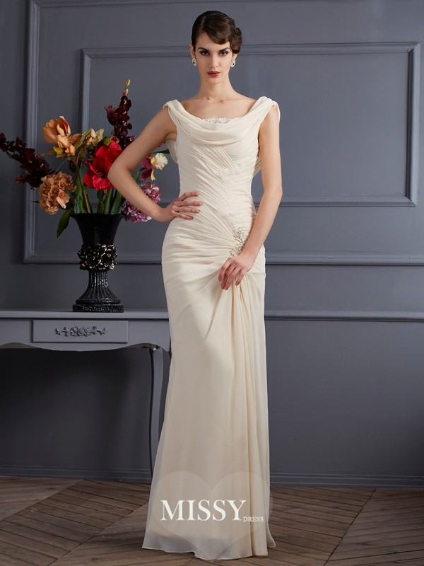 Sheath/Column Scoop Beading Floor-Length Dresses