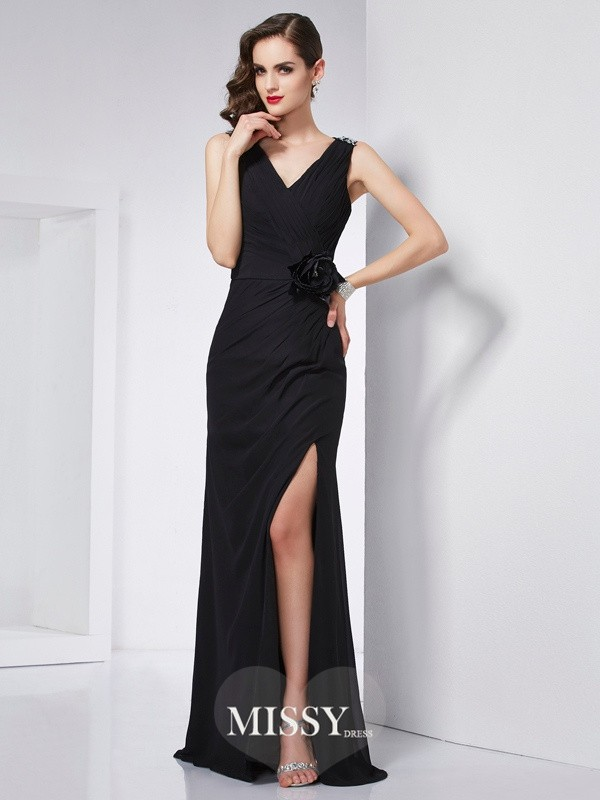 Sheath/Column V-neck Beading Chiffon Floor-Length Dresses