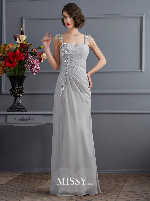 Trumpet/Mermaid Straps Beading Chiffon Floor-Length Dresses
