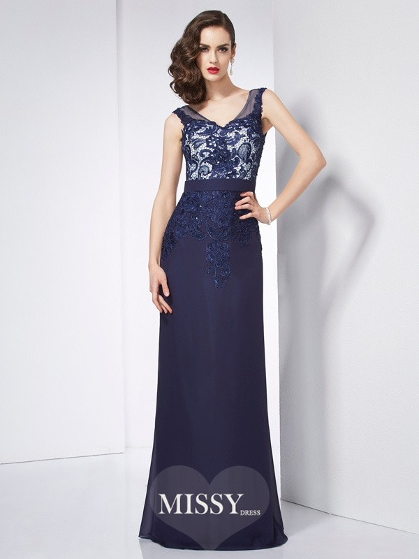 Sheath/Column V-neck Beading Applique Floor-Length Chiffon Dresses