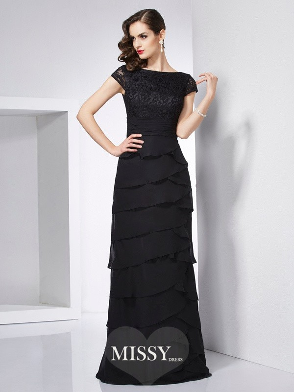 Sheath/Column Short Sleeves Chiffon Scoop Floor-Length Dress