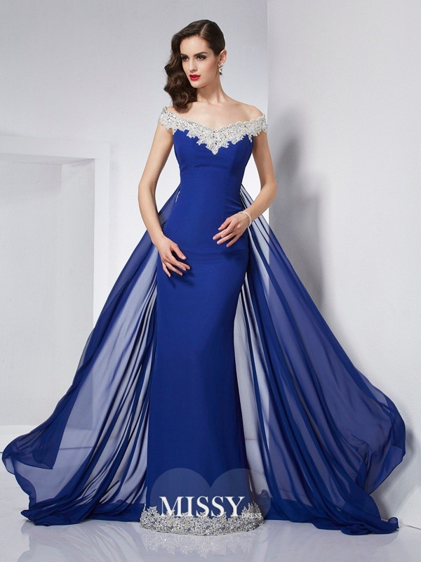 Trumpet/Mermaid Off-the-Shoulder Applique Chiffon Floor-Length Dresses