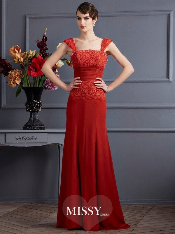 Sheath/Column Chiffon Straps Floor-Length Dresses