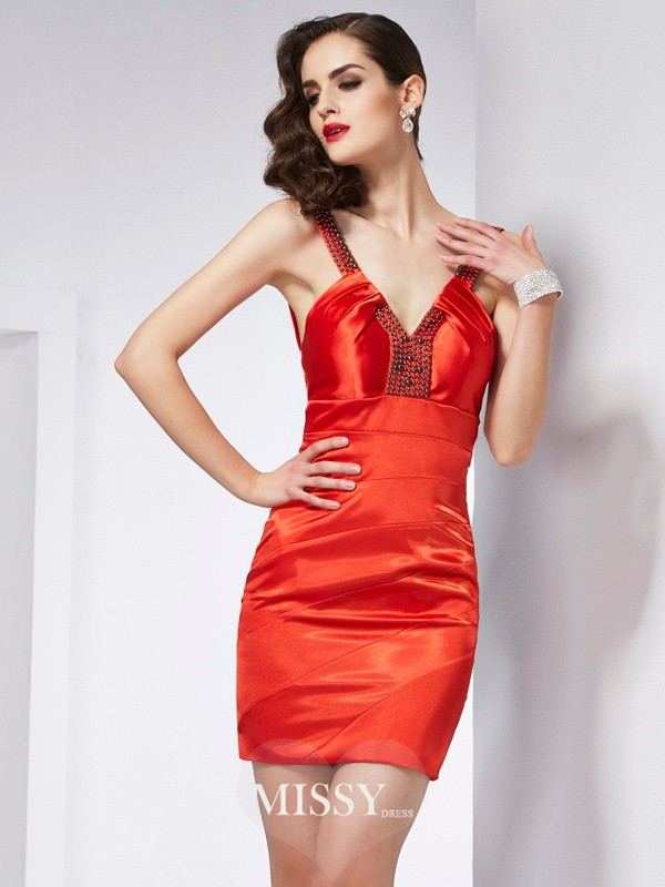 Sheath/Column V-neck Elastic Woven Satin Short/Mini Beading Dresses
