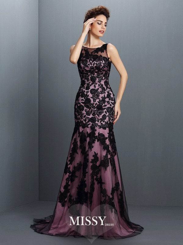Trumpet/Mermaid Bateau Sleeveless Applique Sweep/Brush Train Elastic Woven Satin Gowns