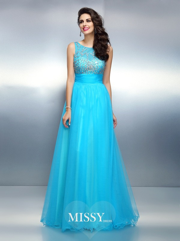 A-Line/Princess Bateau Beading Floor-Length Elastic Woven Satin Dresses