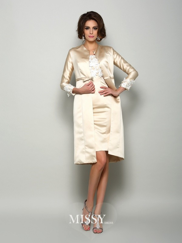 Sheath/Column Short Sleeves Square Satin Knee-Length Applique Mother of the Bride Gowns