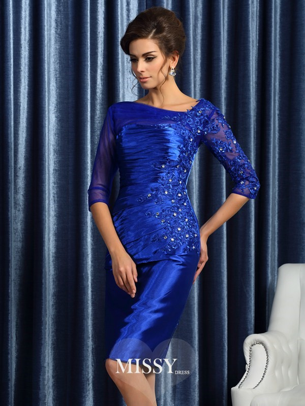 Sheath/Column 3/4 Sleeves Elastic Woven Satin Applique Knee-Length Beading Mother of the Bride Gowns