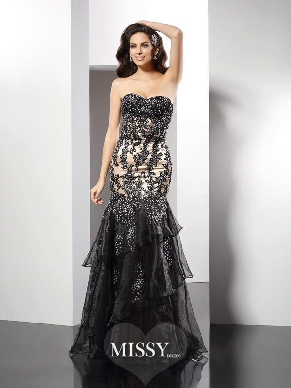 Sheath/Column Sweetheart Applique Sleeveless Floor-Length Elastic Woven Satin Gowns