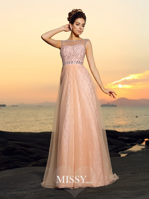 A-Line/Princess Bateau Floor-length Chiffon Lace Dresses