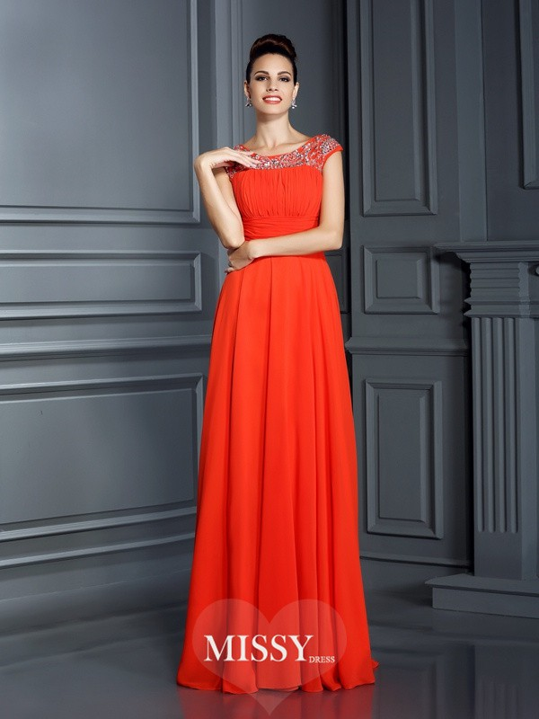 A-Line/Princess Bateau Beading Floor-Length Dresses