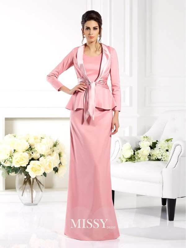 Sheath/Column Square Sleeveless Floor-Length Elastic Woven Satin Mother of the Bride Gowns