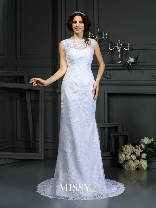 Sheath/Column High Neck Court Train Lace Wedding Dresses