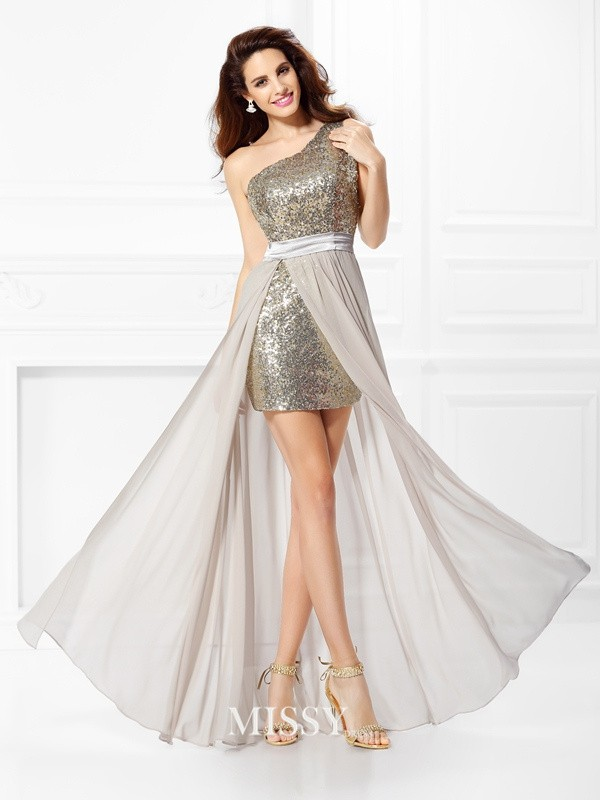 A-Line One-Shoulder Sleeveless Sequin Floor-Length Chiffon Dresses
