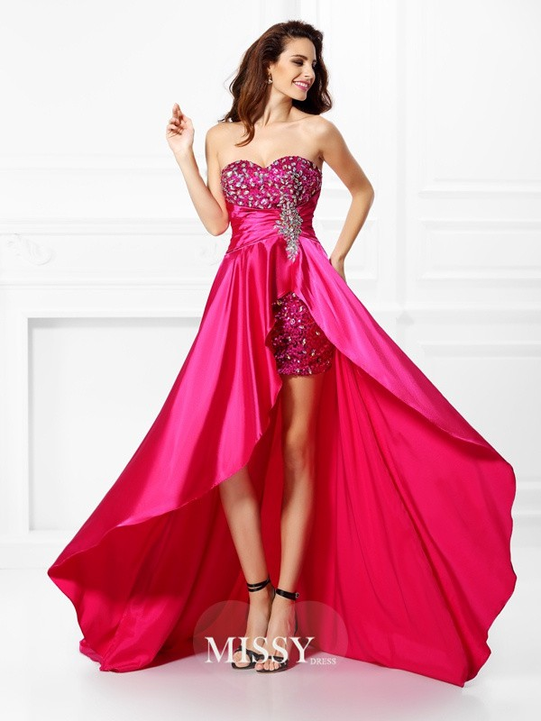 A-Line/Princess Sweetheart Beading Paillette Asymmetrical Elastic Woven Satin Dresses