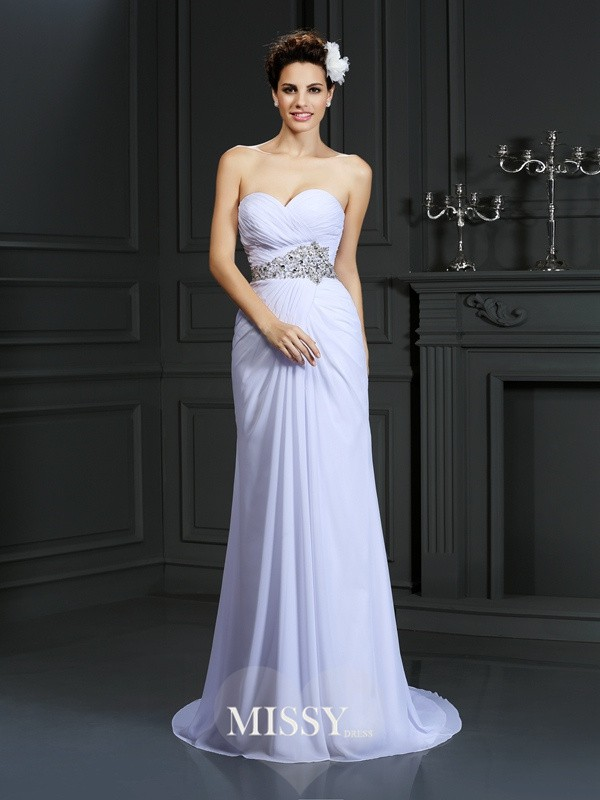 Sheath/Column Sweetheart Beading Chapel Train Chiffon Wedding Dresses