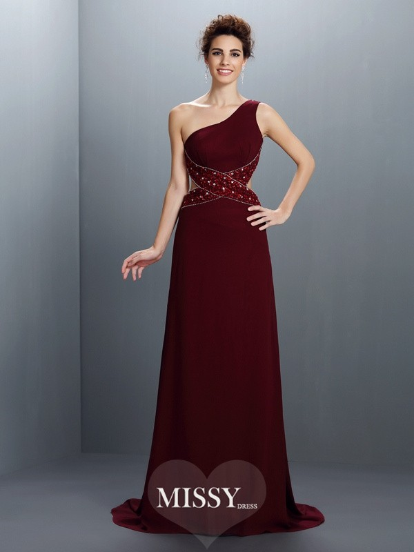A-Line/Princess One-Shoulder Beading Sweep/Brush Train Chiffon Dresses