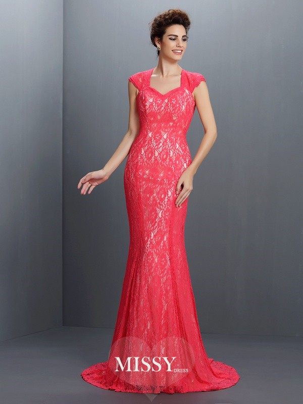 Trumpet/Mermaid V-neck Sleeveless Lace Sweep/Brush Train Lace Gowns
