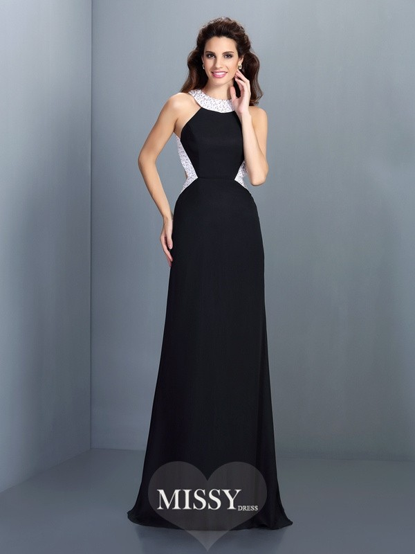 A-Line/Princess High Neck Sleeveless Sweep Beading Chiffon Dresses