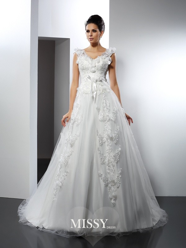 A-Line/Princess Straps Lace Cathedral Train Satin Wedding Dresses