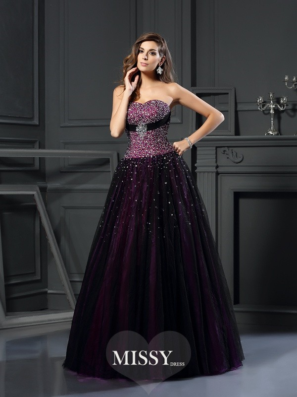 Ball Gown Sweetheart Beading Floor-Length Satin Dresses