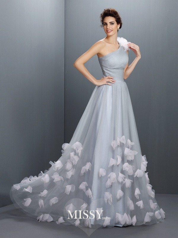 A-Line/Princess One-Shoulder Sleeveless Hand-Made Flower Long Net Dresses