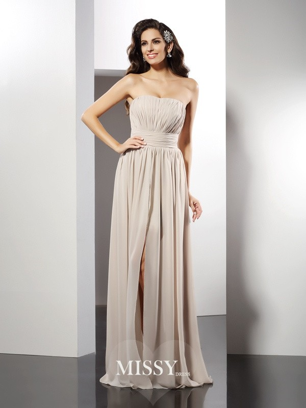 Column Strapless Sleeveless Pleats Floor-Length Chiffon Dresses