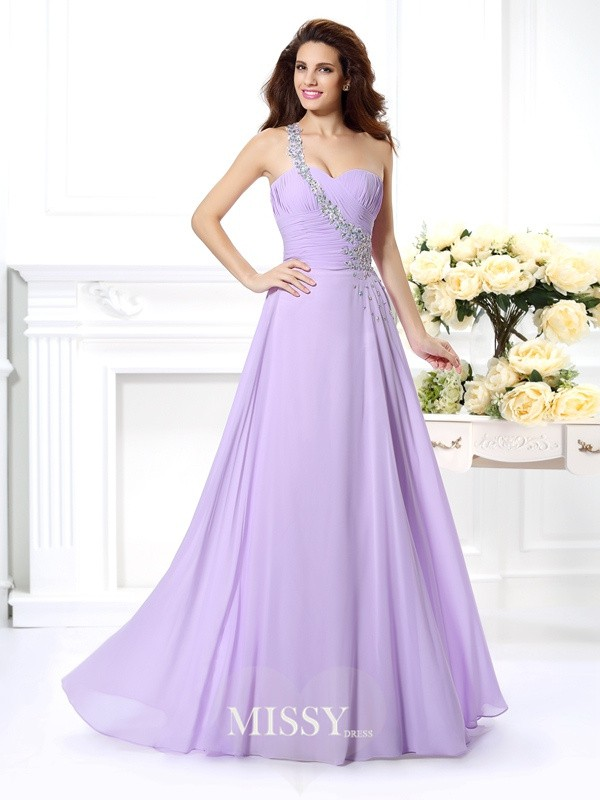 One-Shoulder Beading Floor-Length Chiffon Dresses