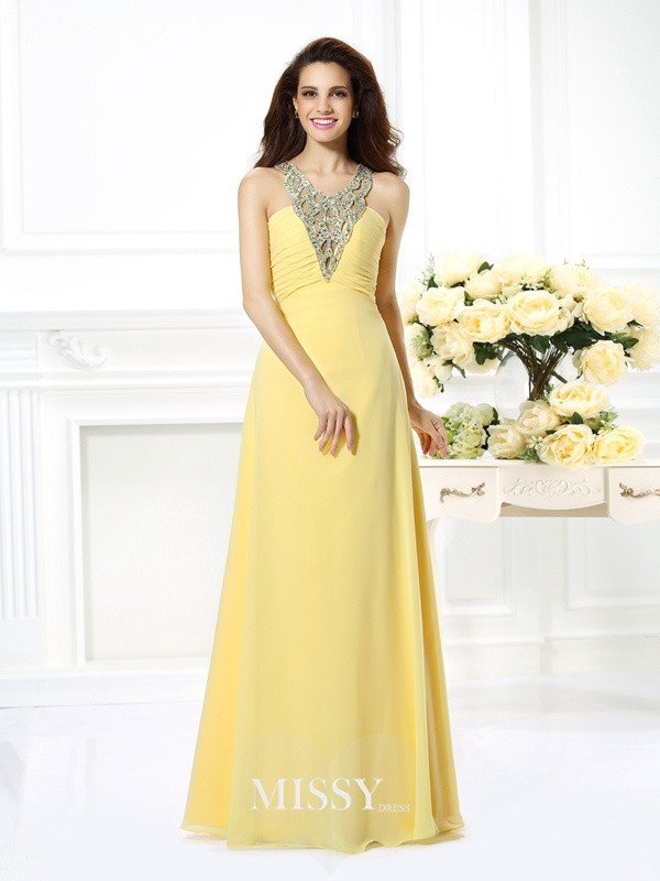 Princess V-neck Sleeveless Beading Long Chiffon Dresses