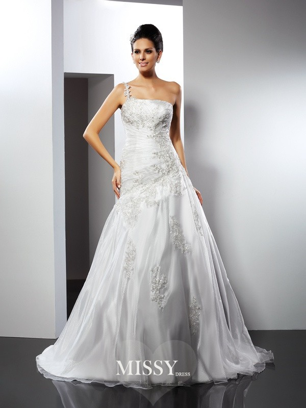 A-Line/Princess One-Shoulder Applique Chapel Train Satin Wedding Dresses
