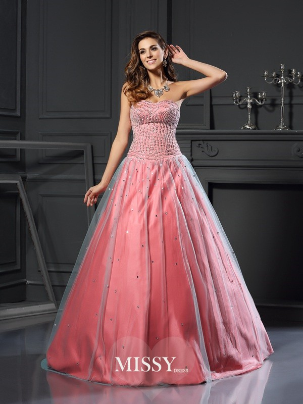 Ball Gown Satin Sweetheart Beading Floor-Length Dresses