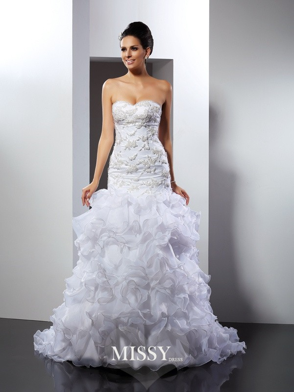 Trumpet/Mermaid Sweetheart Beading Chapel Train Organza Wedding Dresses