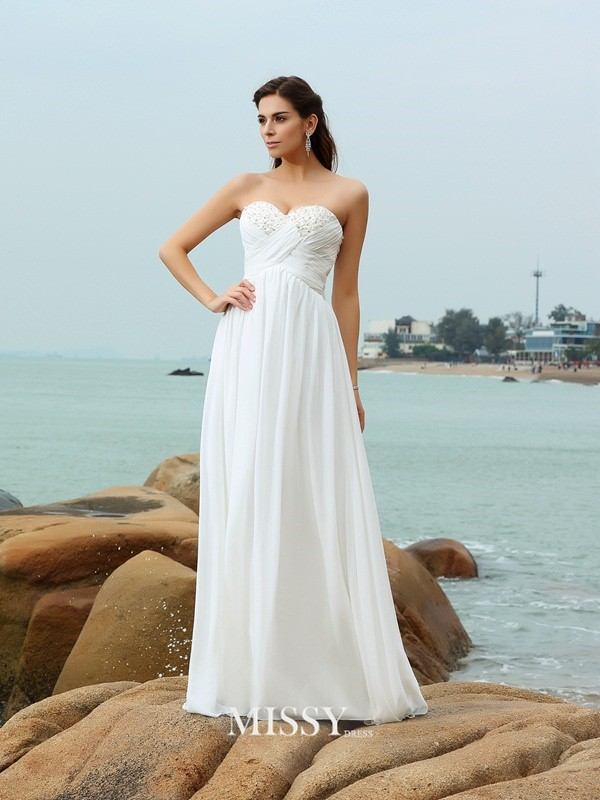 A-Line/Princess Sweetheart Sweep/Brush Train Chiffon Beading Wedding Dresses