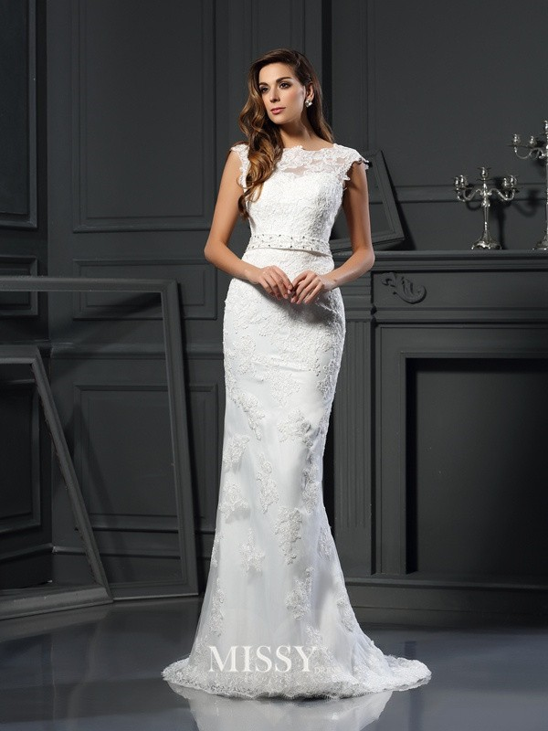 Trumpet/Mermaid Bateau Satin Lace Court Train Wedding Dresses