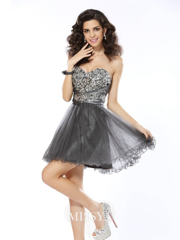 A-Line/Princess Sweetheart Sleeveless Ruffles Short/Mini Net Dress