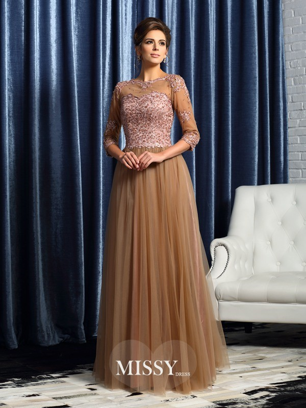 A-Line/Princess 3/4 Sleeves Scoop Floor-Length Elastic Woven Satin Mother of the Bride Gowns