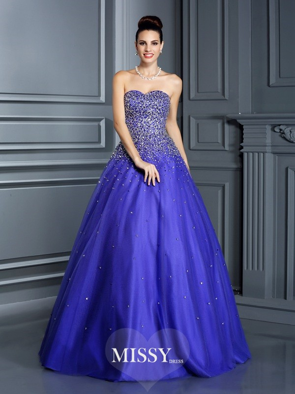 Ball Gown Sweetheart Beading Long Net Quinceanera Dresses