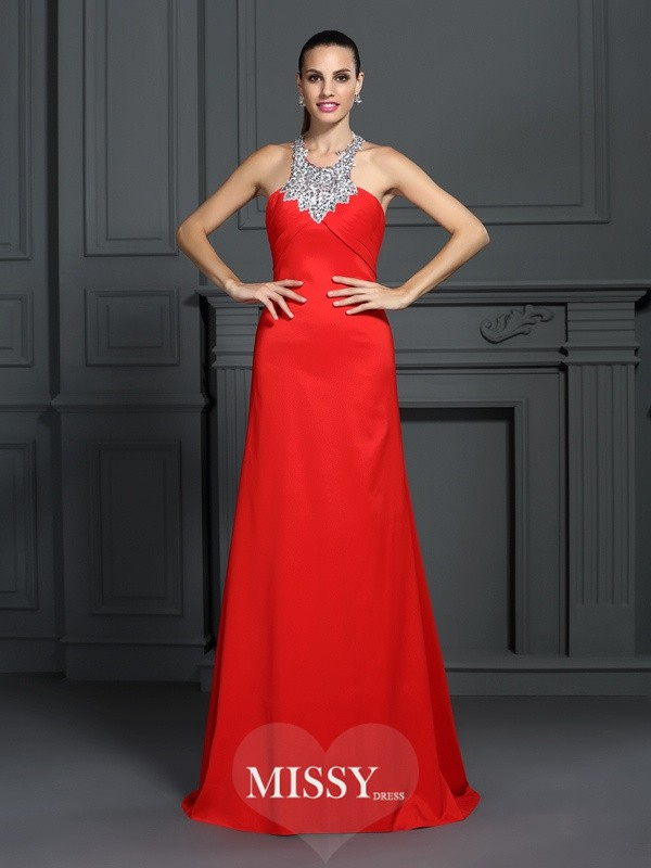 A-Line/Princess High Neck Beading Sweep/Brush Train Elastic Woven Satin Dresses