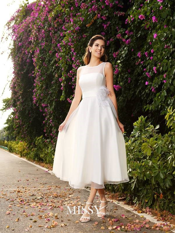 A-Line/Princess Bateau Sash/Ribbon/Belt Satin Ankle-Length Wedding Dresses