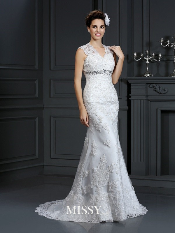 Sheath/Column V-neck Beading Sweep/Brush Train Lace Wedding Dresses