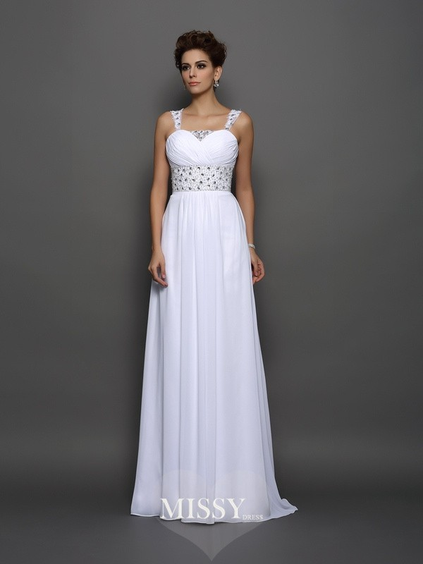 A-Line/Princess Chiffon Straps Court Train Beading Wedding Dresses