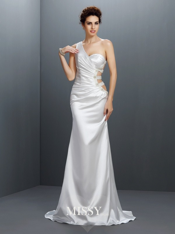 Trumpet/Mermaid One-Shoulder Beading Sweep/Brush Train Elastic Woven Satin Dresses