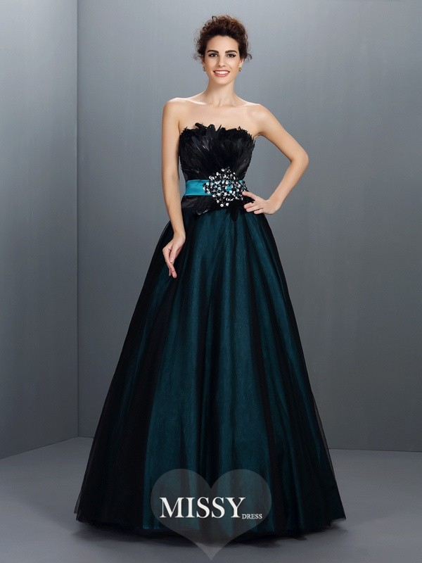 Ball Gown Strapless Feathers/Fur Floor-Length Elastic Woven Satin Dresses