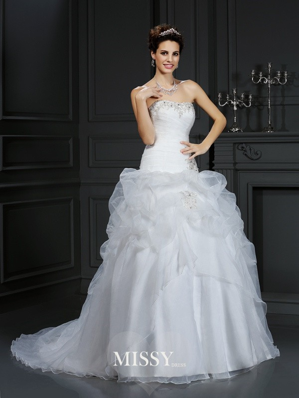 Ball Gown Strapless Beading Court Train Organza Wedding Dresses