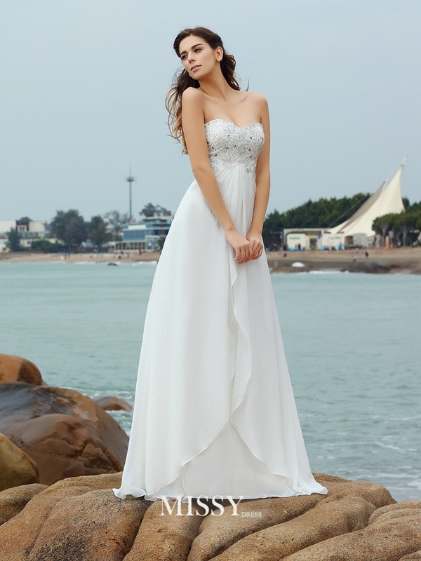 A-Line/Princess Sweetheart Beading Chiffon Floor-Length Wedding Dresses