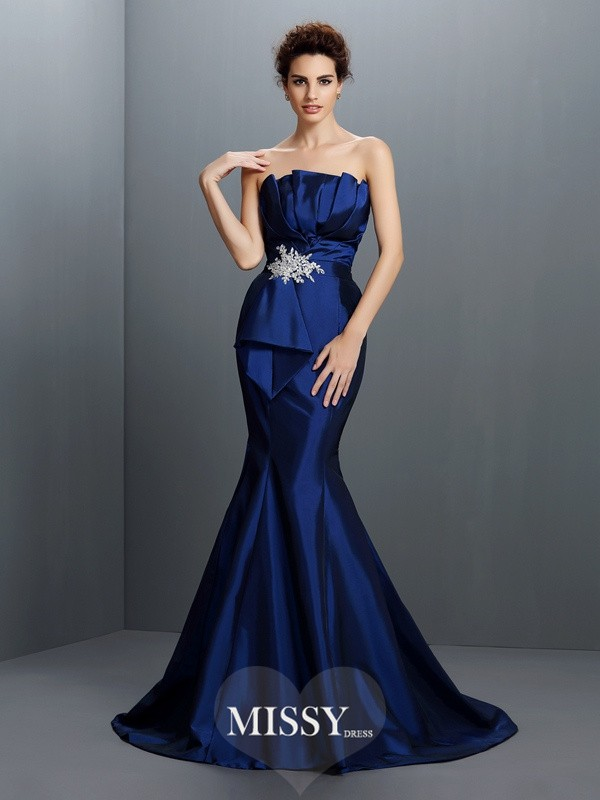 Trumpet/Mermaid Strapless Sleeveless Beading Sweep/Brush Train Taffeta Gowns