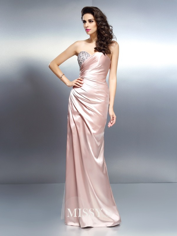 Mermaid Sweetheart Beading Floor-Length Elastic Woven Satin Dresses